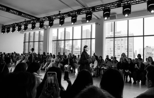 Model walking runway at New York Fashion Week