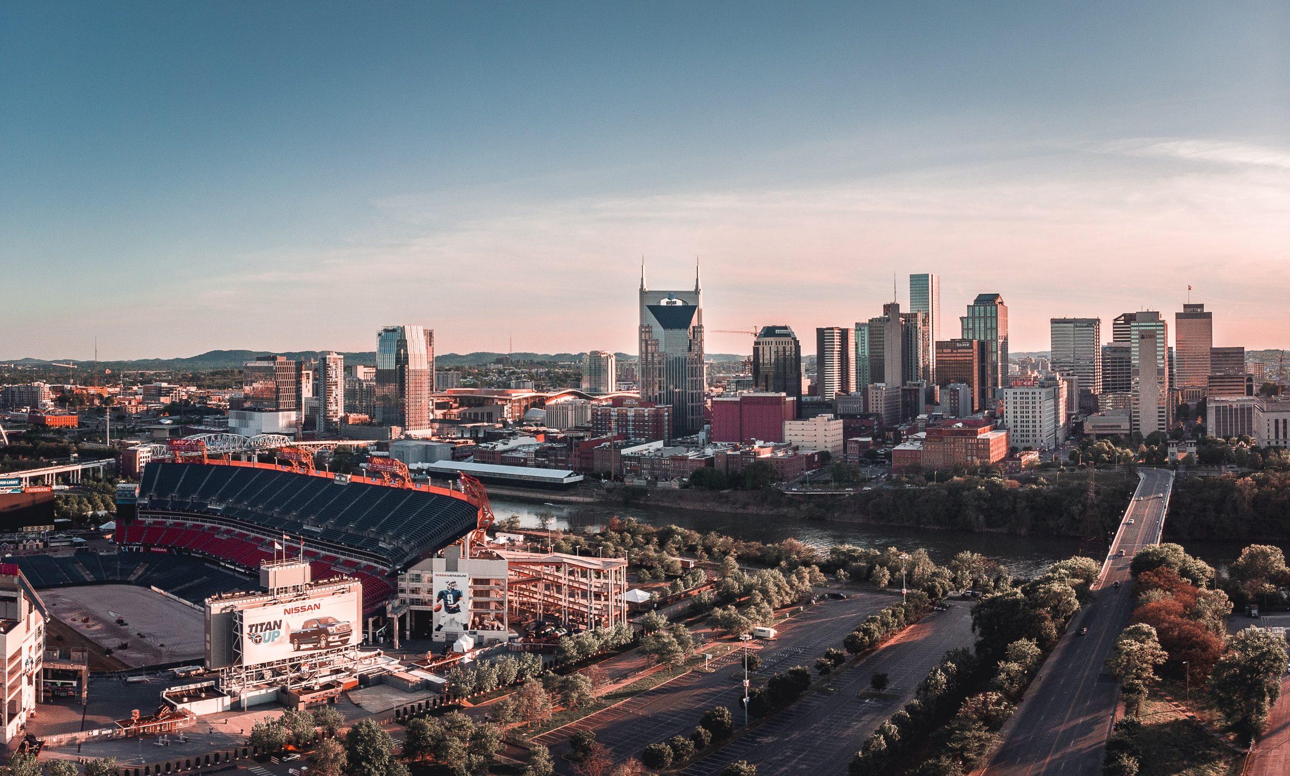 Nashville skyline in the evening.