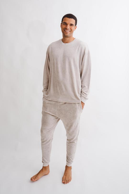 Cream top and pants loungewear combo for men