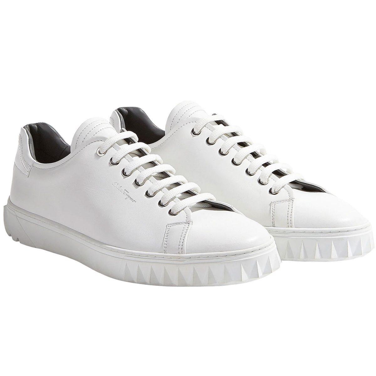 Levy's white Ferragamo sneakers