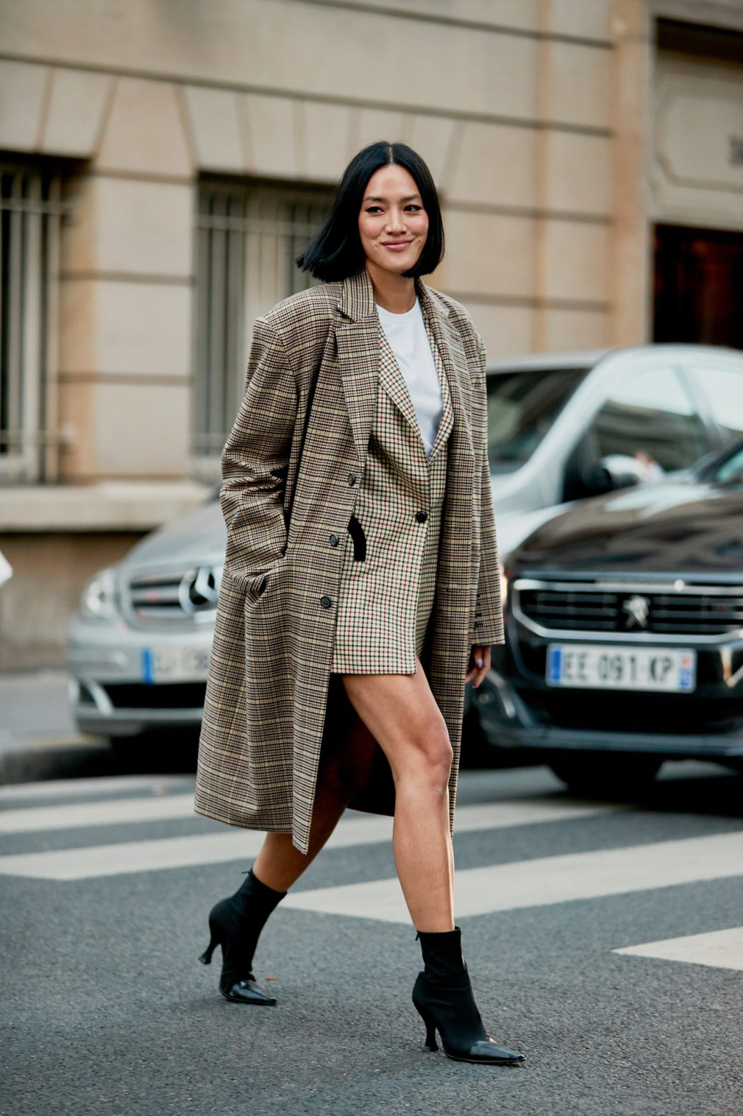Overcoat and short dress