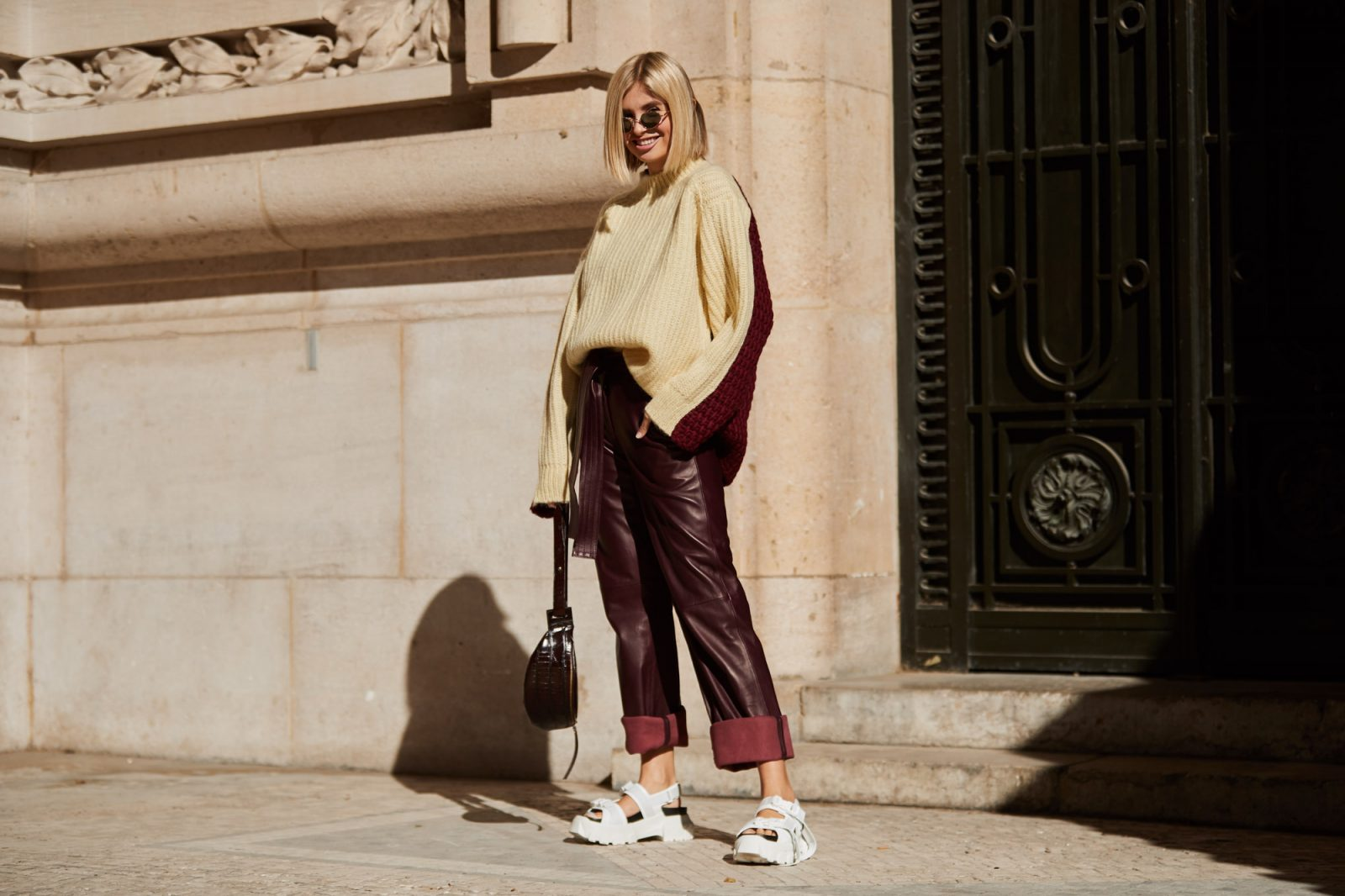 plush sweaters and leather pants from paris fashion week