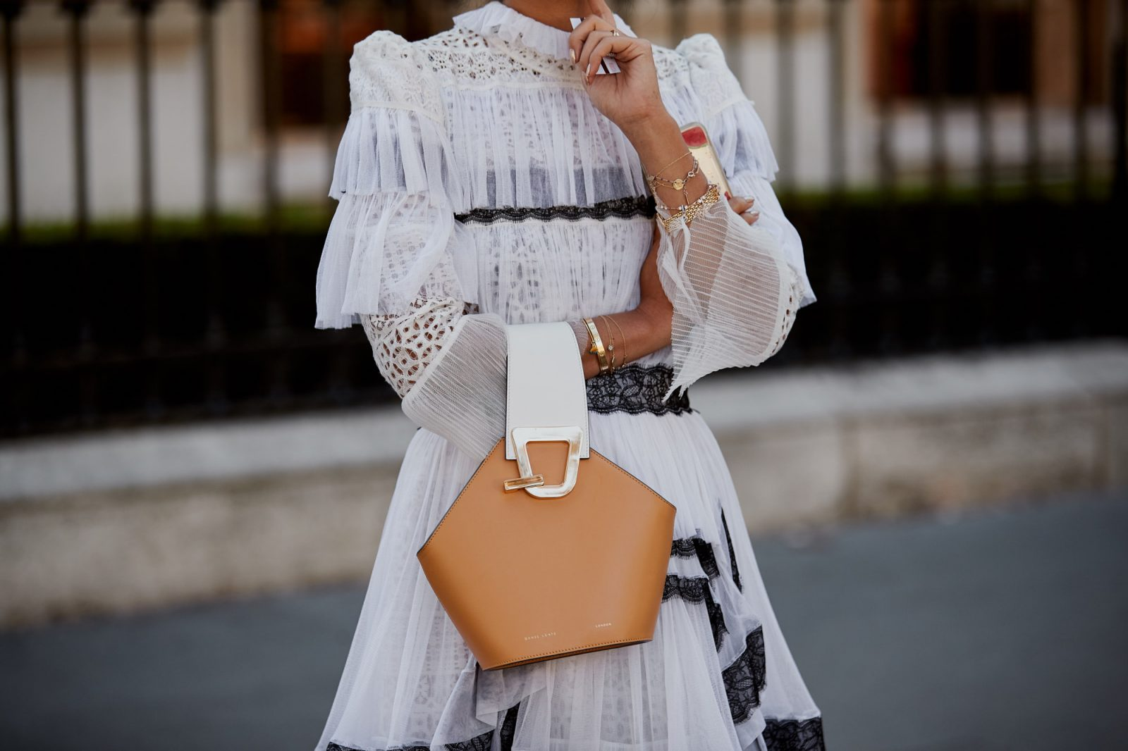 white and black accented dress from paris 2019