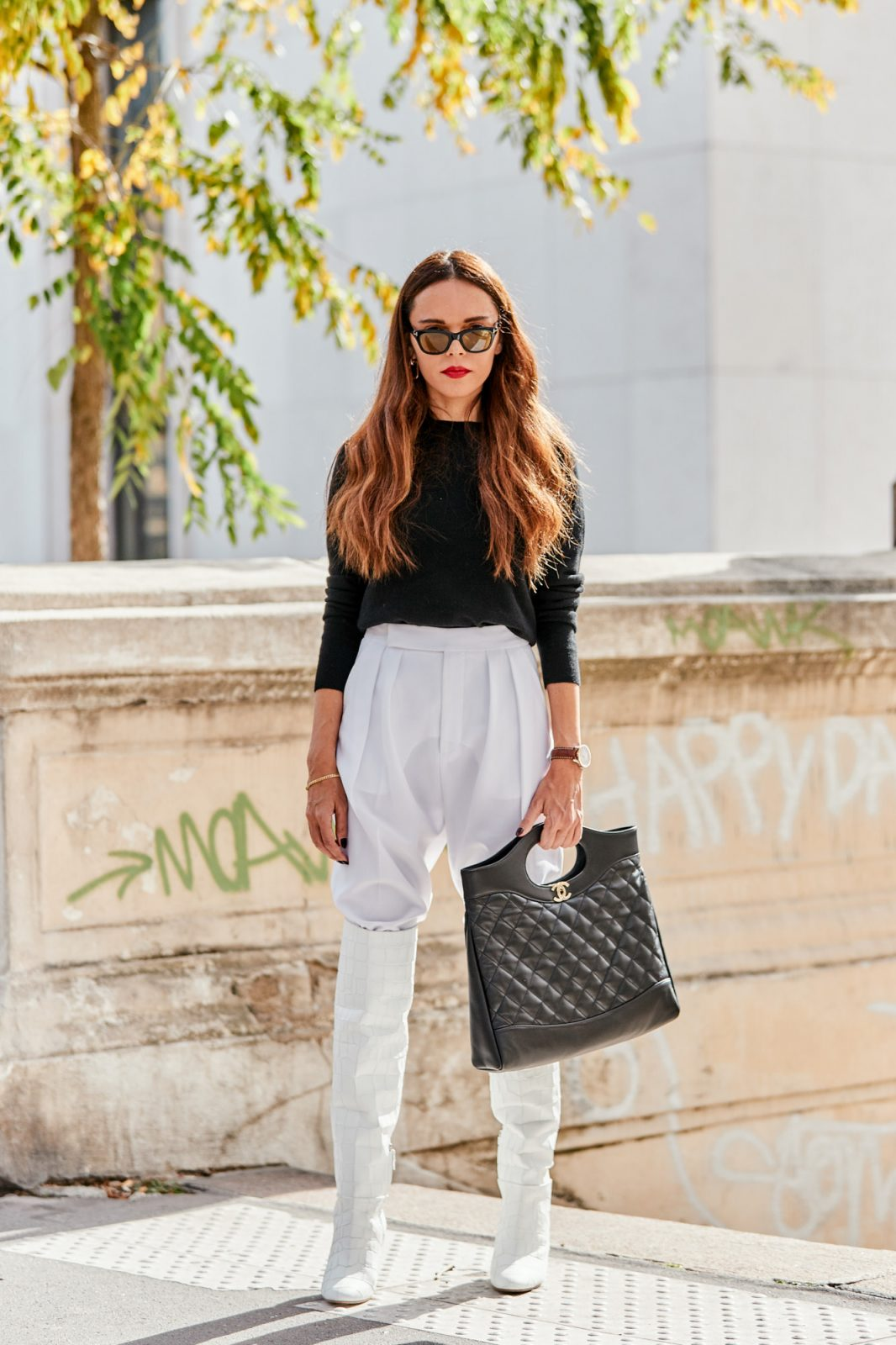 black and white classy with chanel handbag