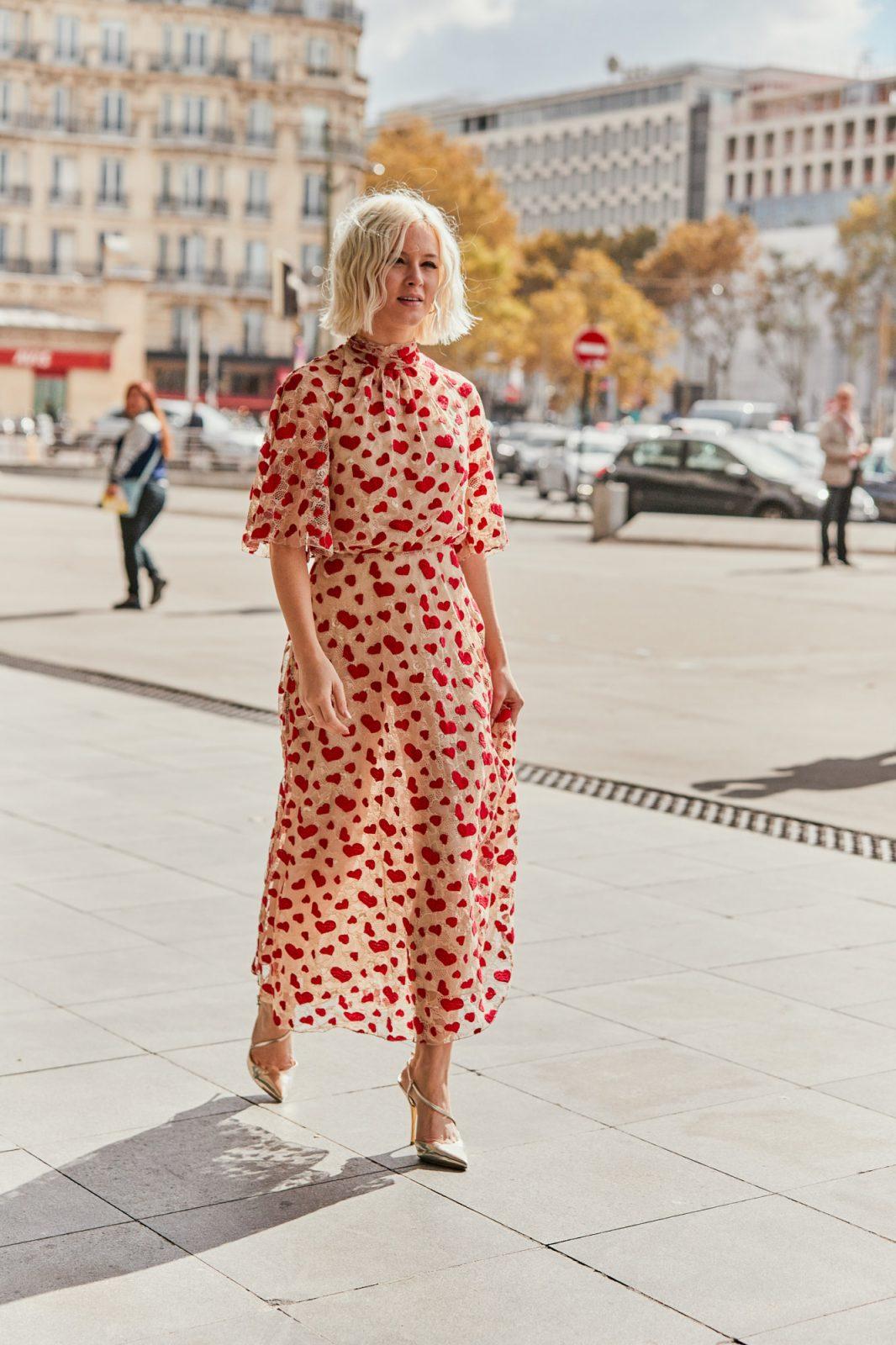 bright summer red heart dress