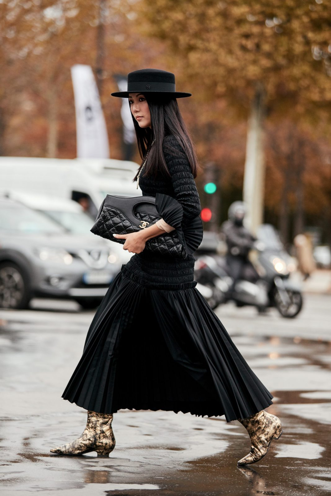 classic black skirt, shirt and hat combo with accent shoes