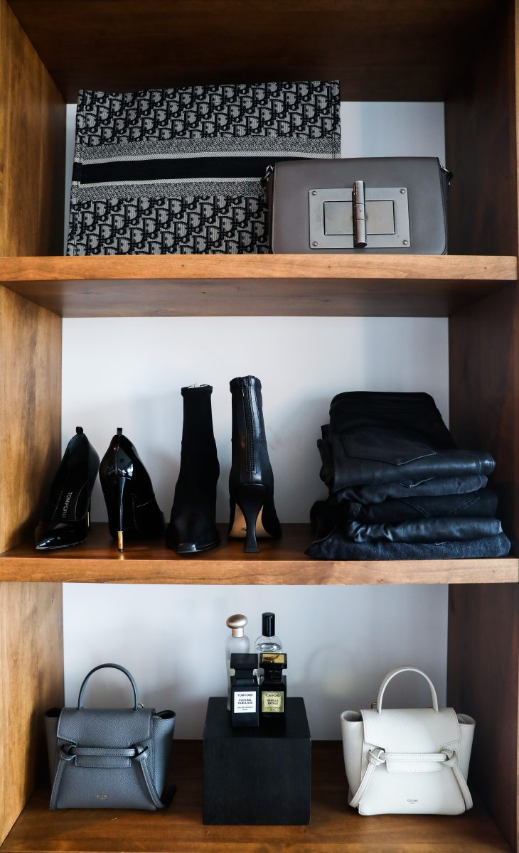 Perfectly organized accessories and shoes