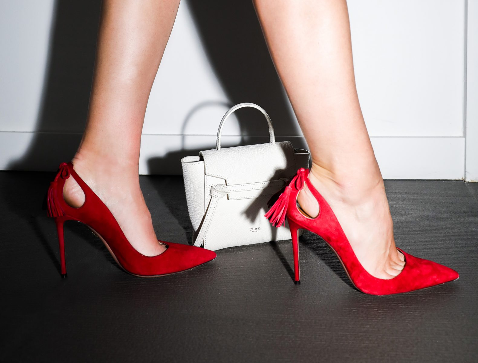 Red hassled heels