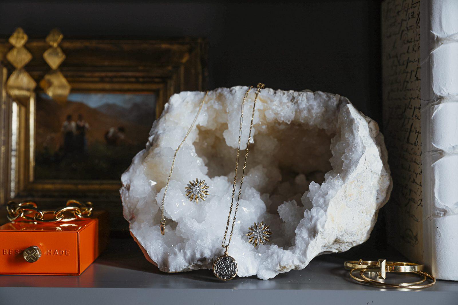 Jewelry showcase from Elizabeth Allen's personal style
