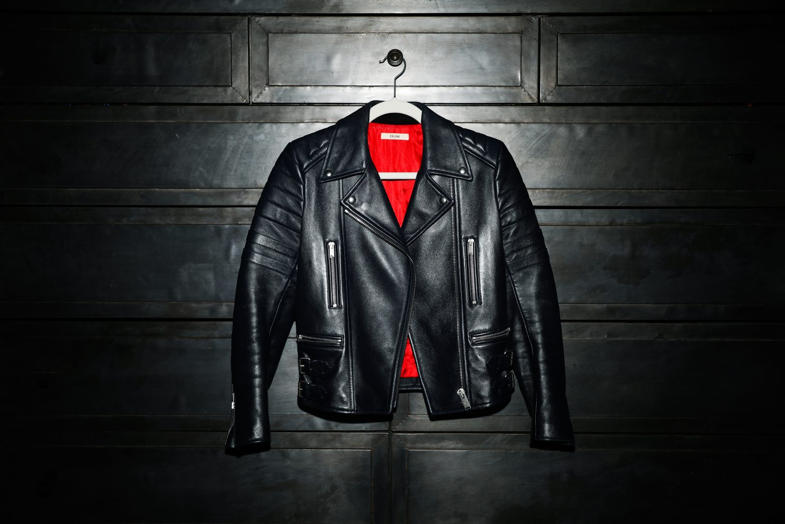 Greaser aesthetic black leather jacket with red lining