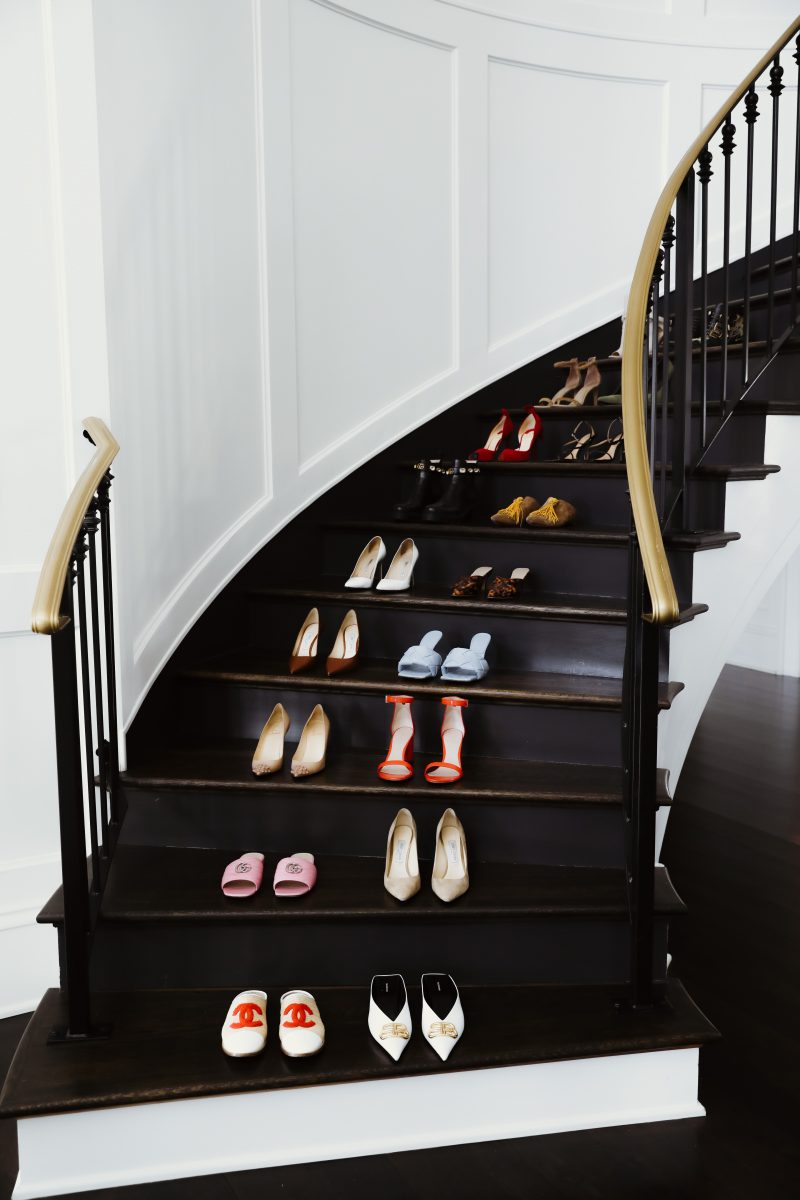 Elizabeth Allen shoe stair lineup. Shows off her personal style.