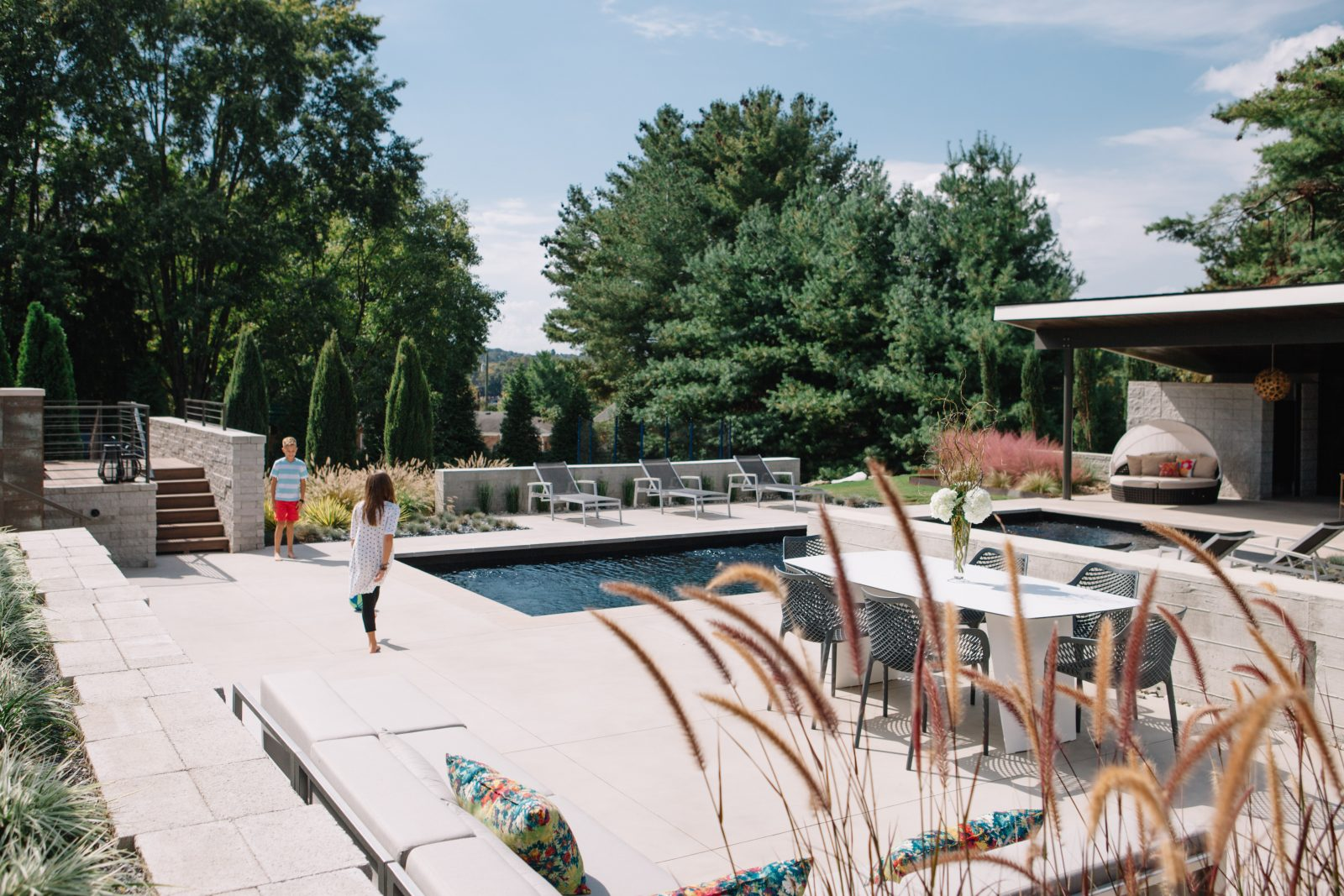 Take inspiration from this outdoor design for pool, hot tub, dinning and lounge space