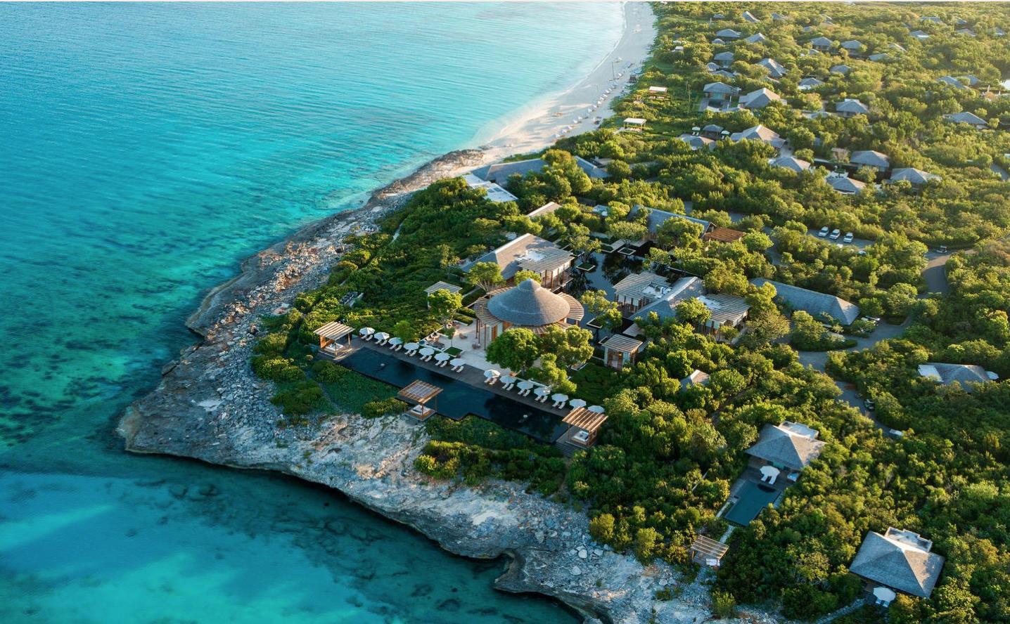 Amanyara arial shot of a tropical getaway resort