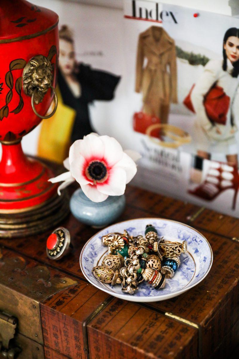 Vintage rings, earrings, and accessories