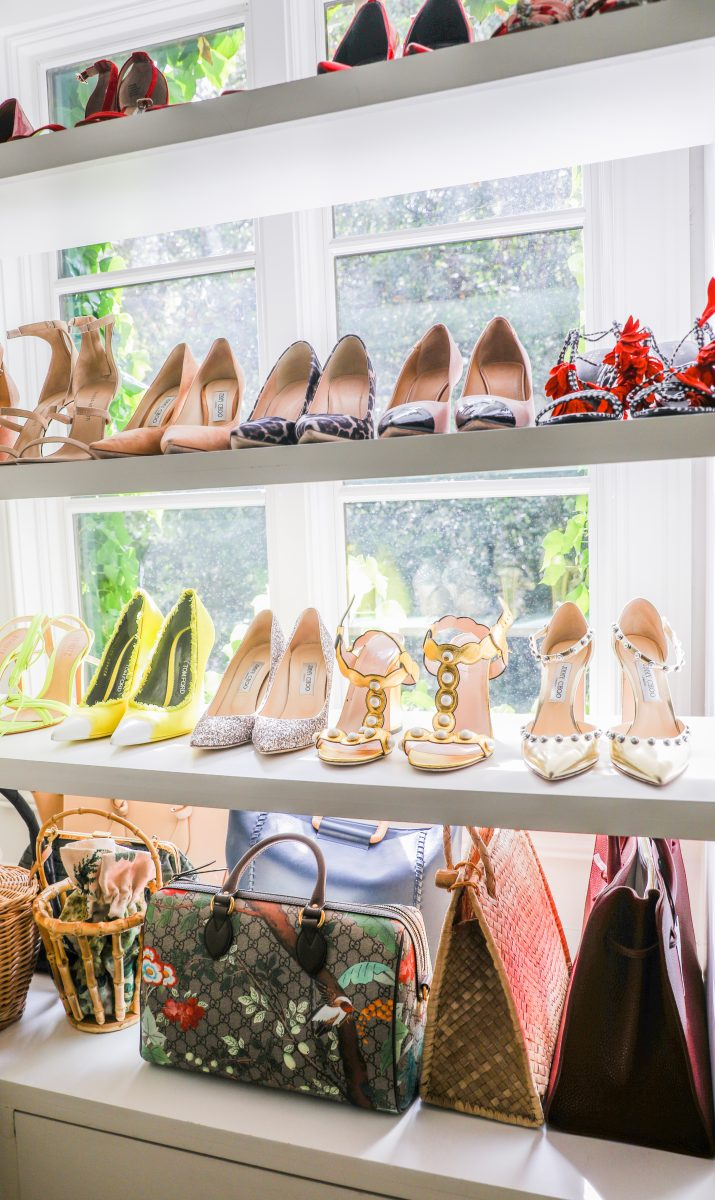 Side view of vintage shoes and choice style handbags