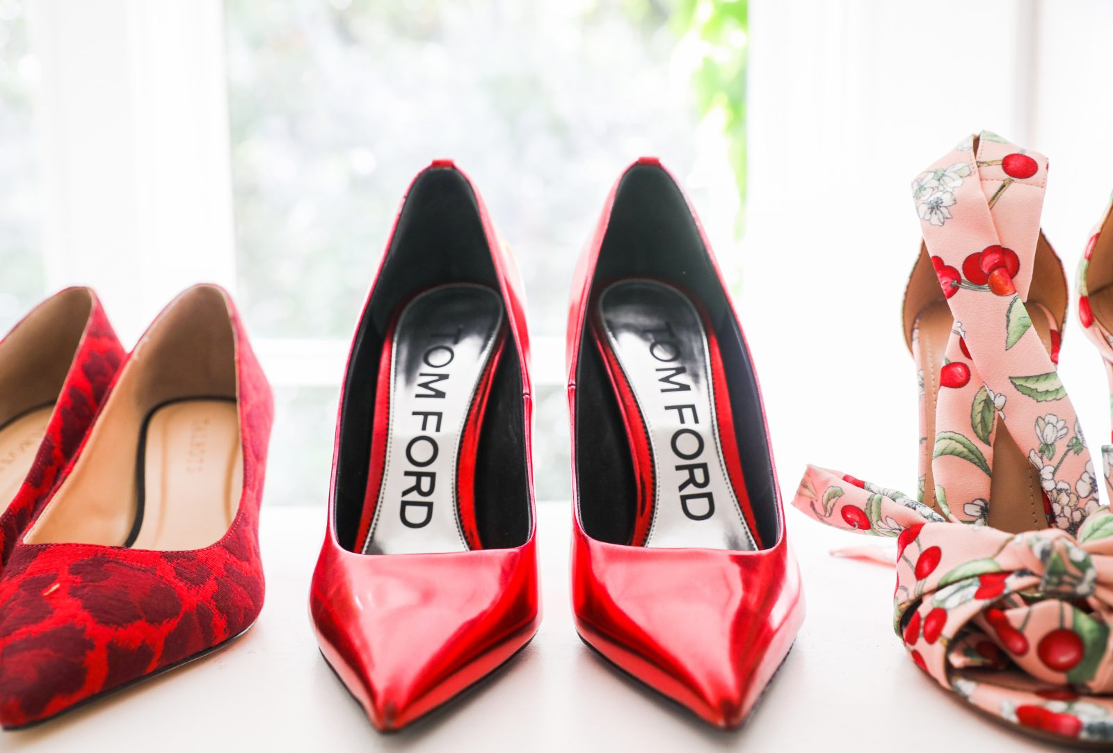 Red tom ford heels with red leopard and red cherry patterned vintage heels
