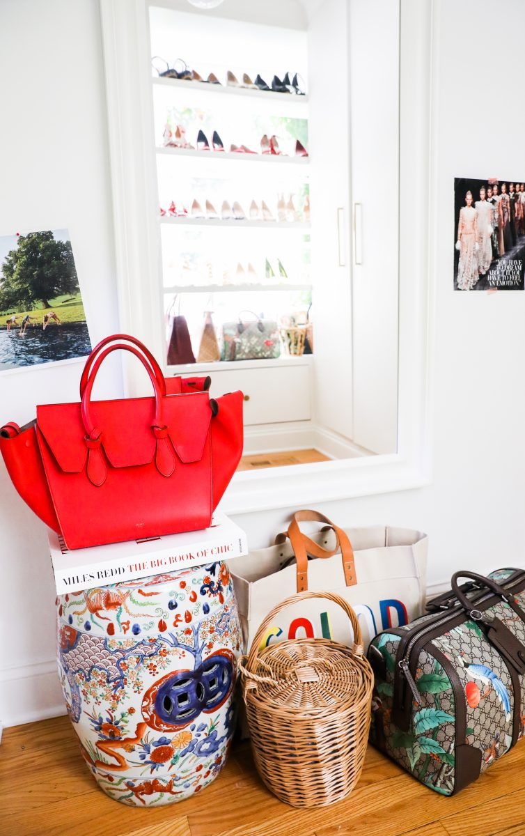 Red purse with large bag collection