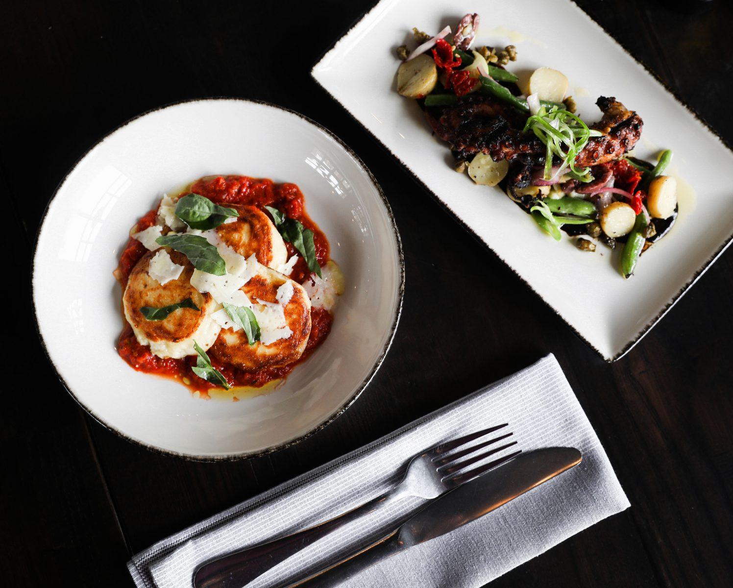 Starter ricotta fritta and salad