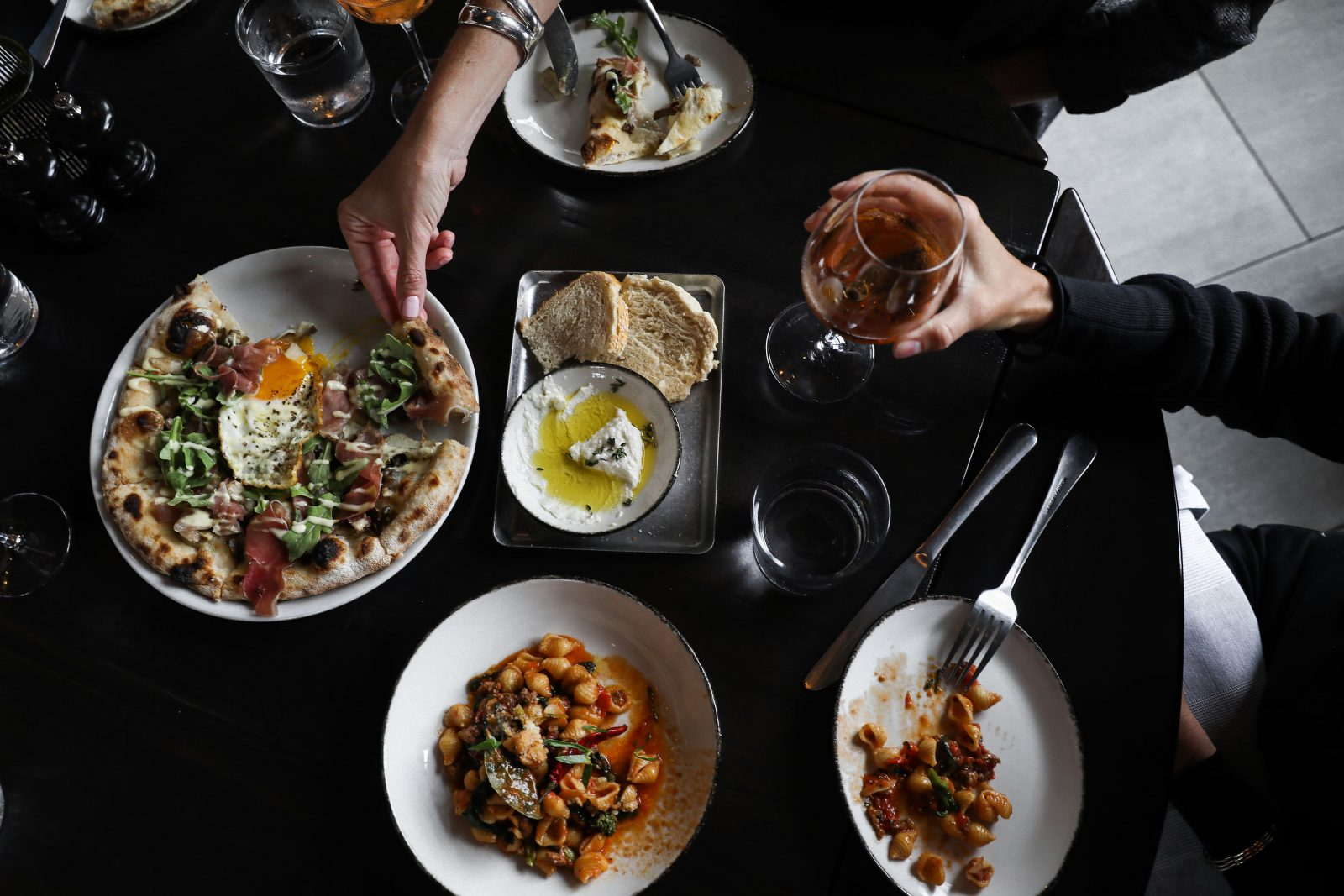 Full spread of Italian food at Culaccino