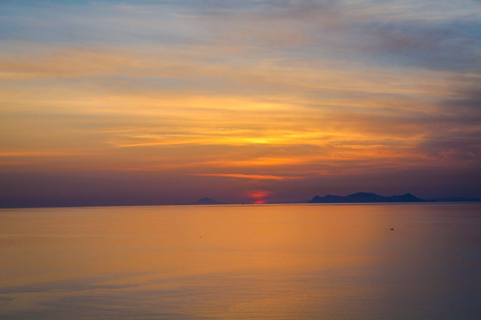 Sunset on the Agean Sea from Santorini Greece