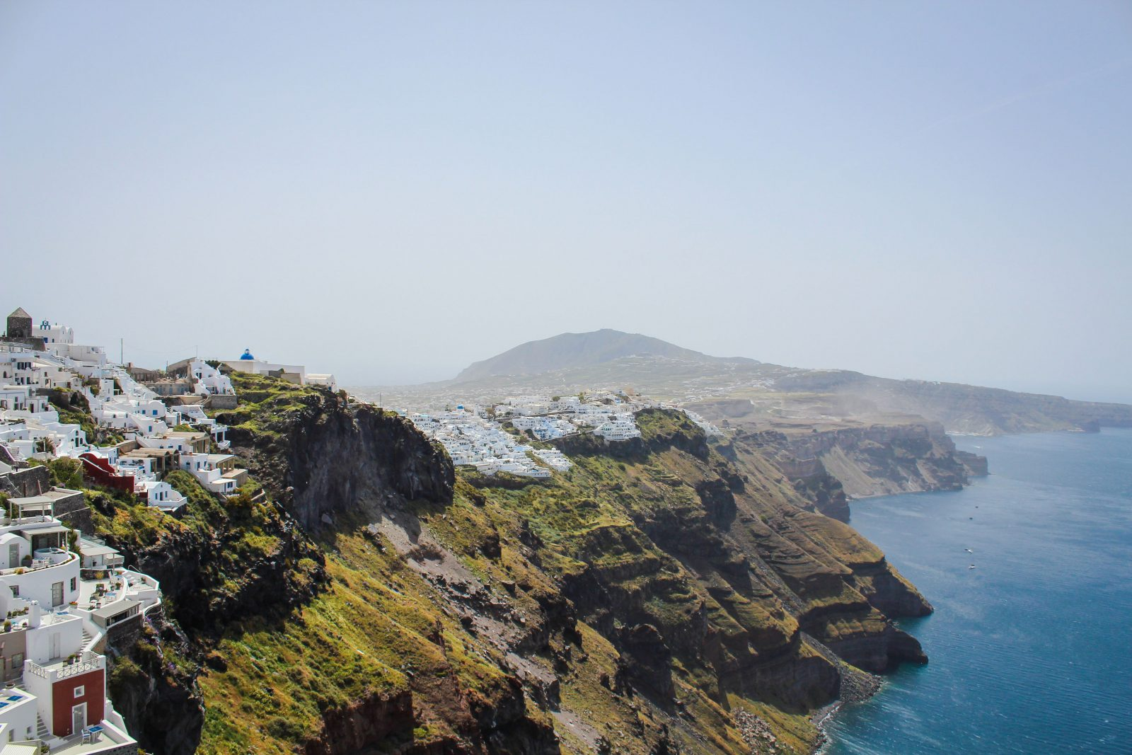 Santorini white-washed cliffs on the agean sea are the spring getaway location