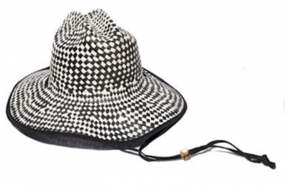 black and white checkered straw hat by Lele Sadoughi
