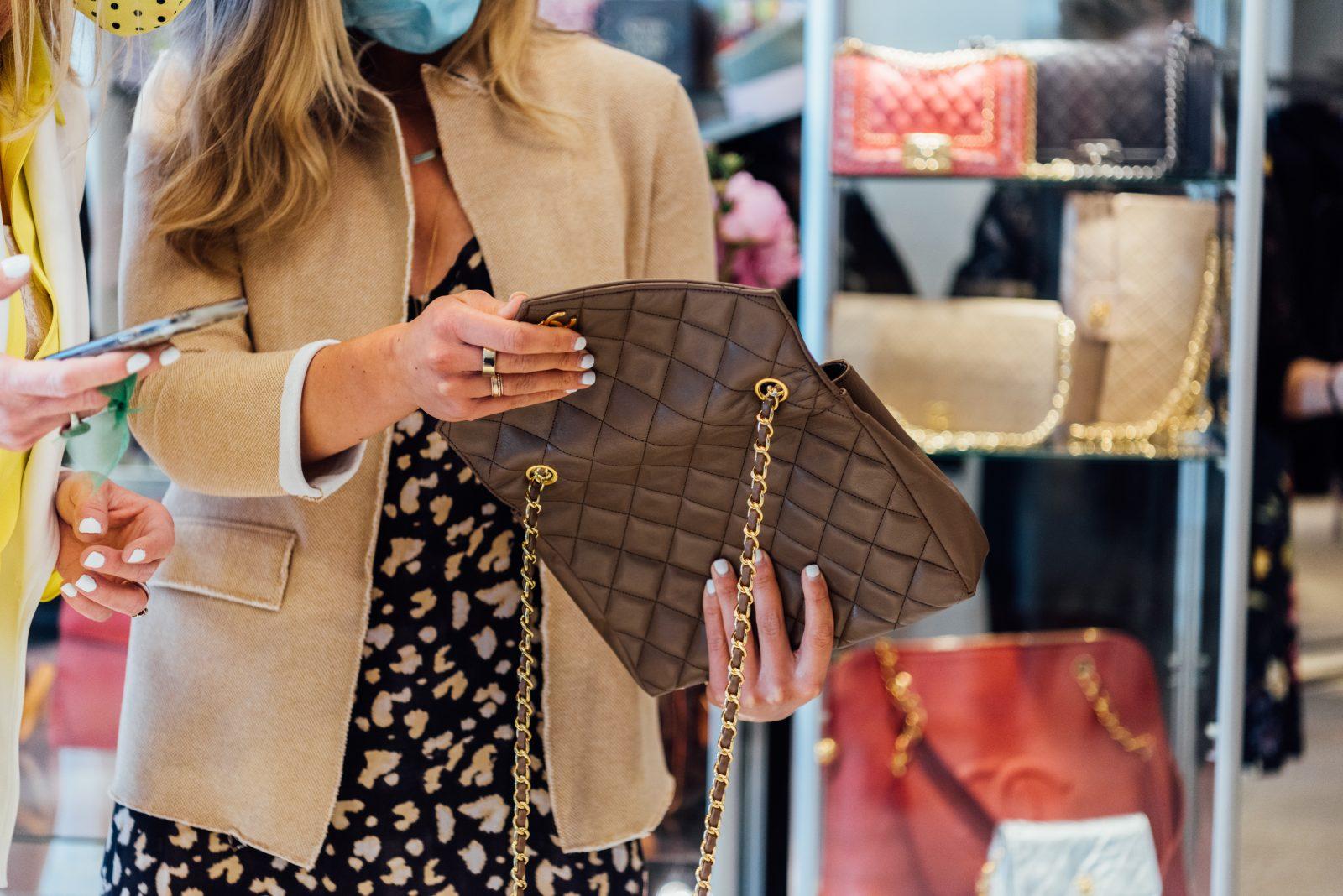 Brown Chanel stitched handbag