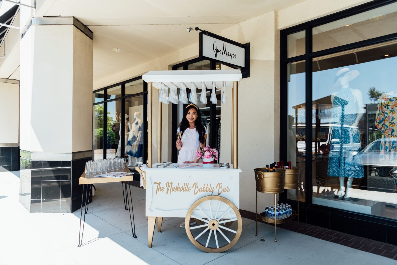 The Nashville Bubbly Bar offering and serving sparkling rose and champagne to guests at Gus Mayer