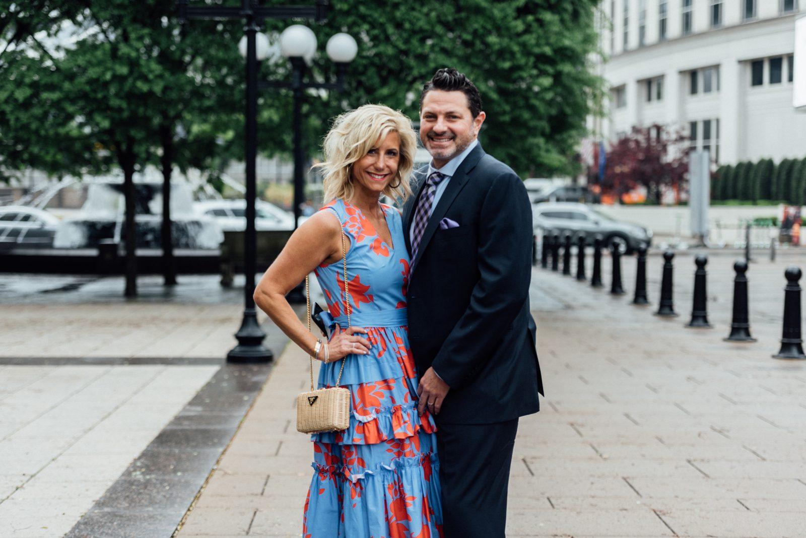 Amanda Schwartz in Carolina Herrara & (husband) in Canali