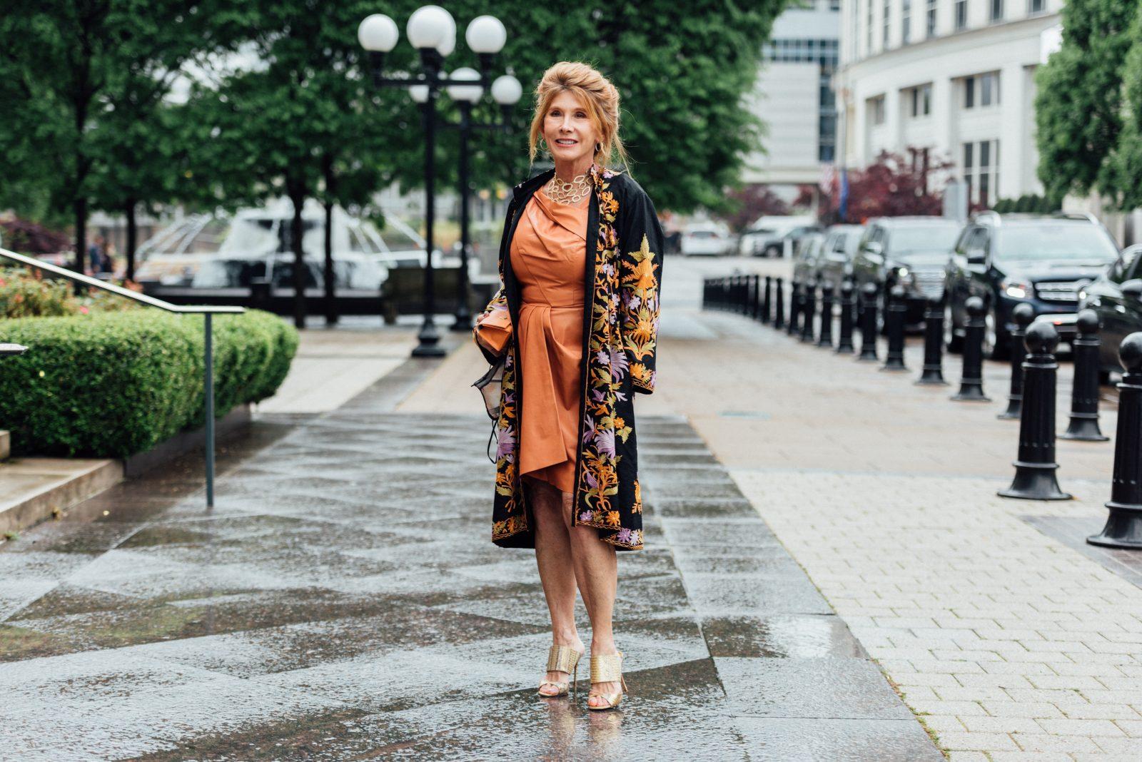 Ray Carol Yarbrough wears J. Mendel