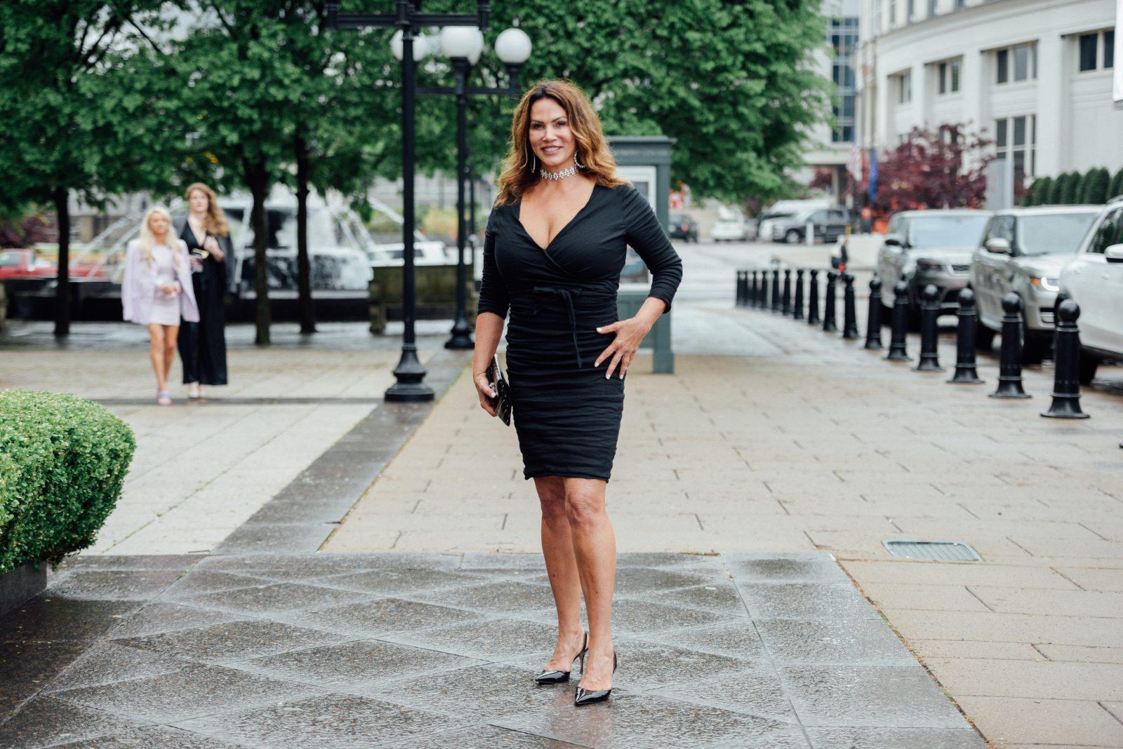 Irma Harris wearing Nicole Miller brand