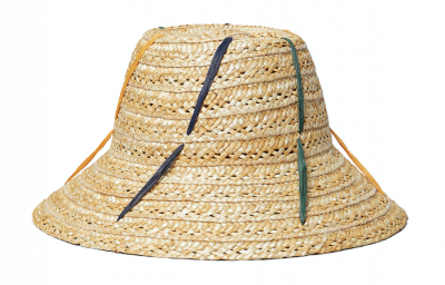 woven straw hat with multicolored strands