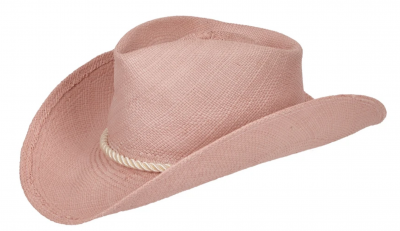 Rose colored panama sttraw sun hat with white rope by Haven