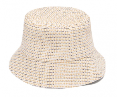 Cute yellow and white summer sun hat
