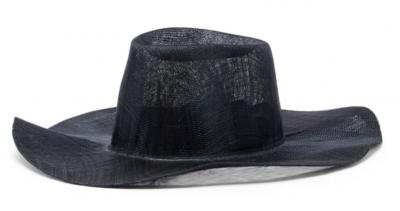 Wide brim black woven summer hat
