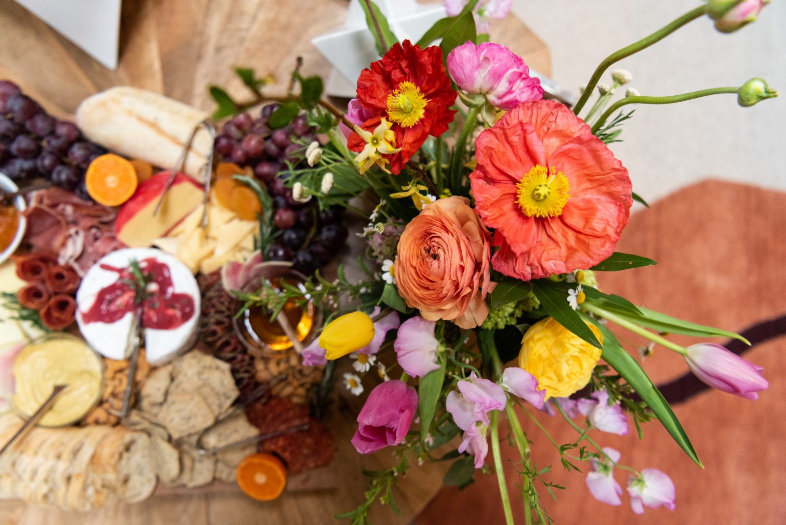 Flowers and charcuterie board