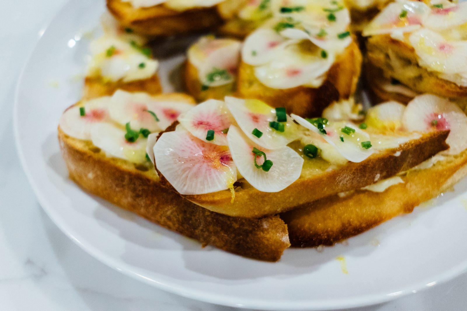 Open faced toasted radish sandwiches