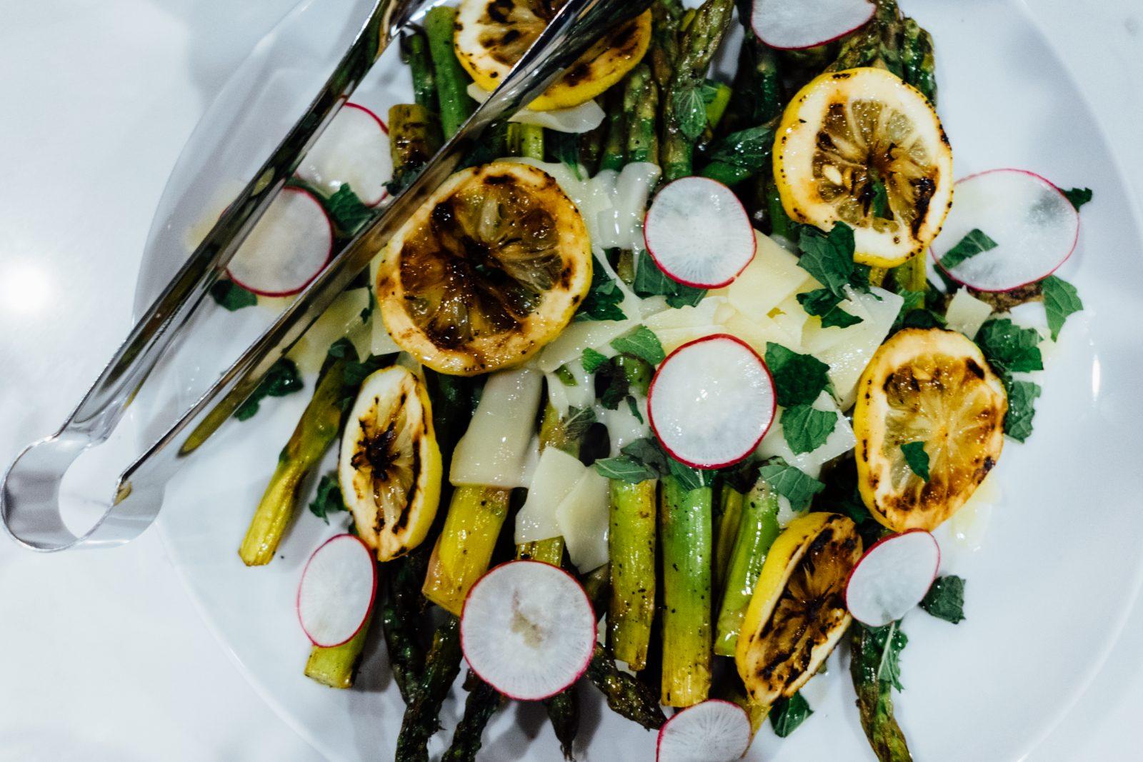 Lemon, Parmesan, asparagus, and radishes