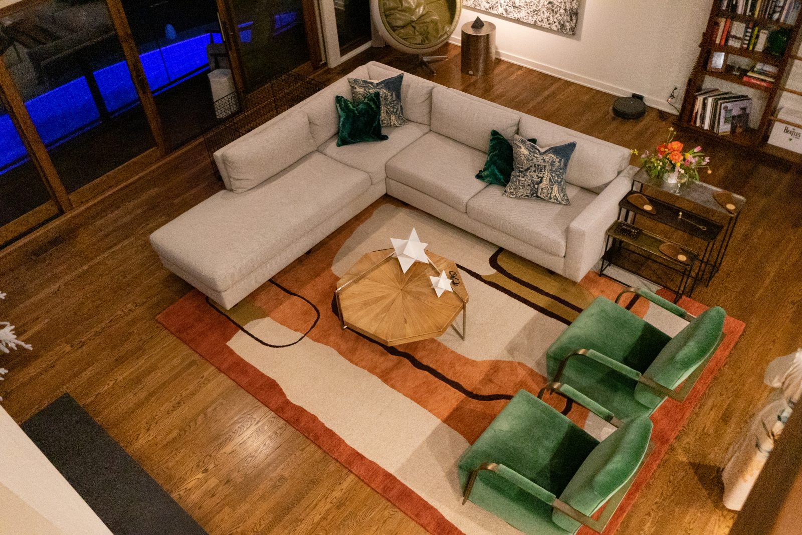 The perfect living room setup for a party at home night in Nashville