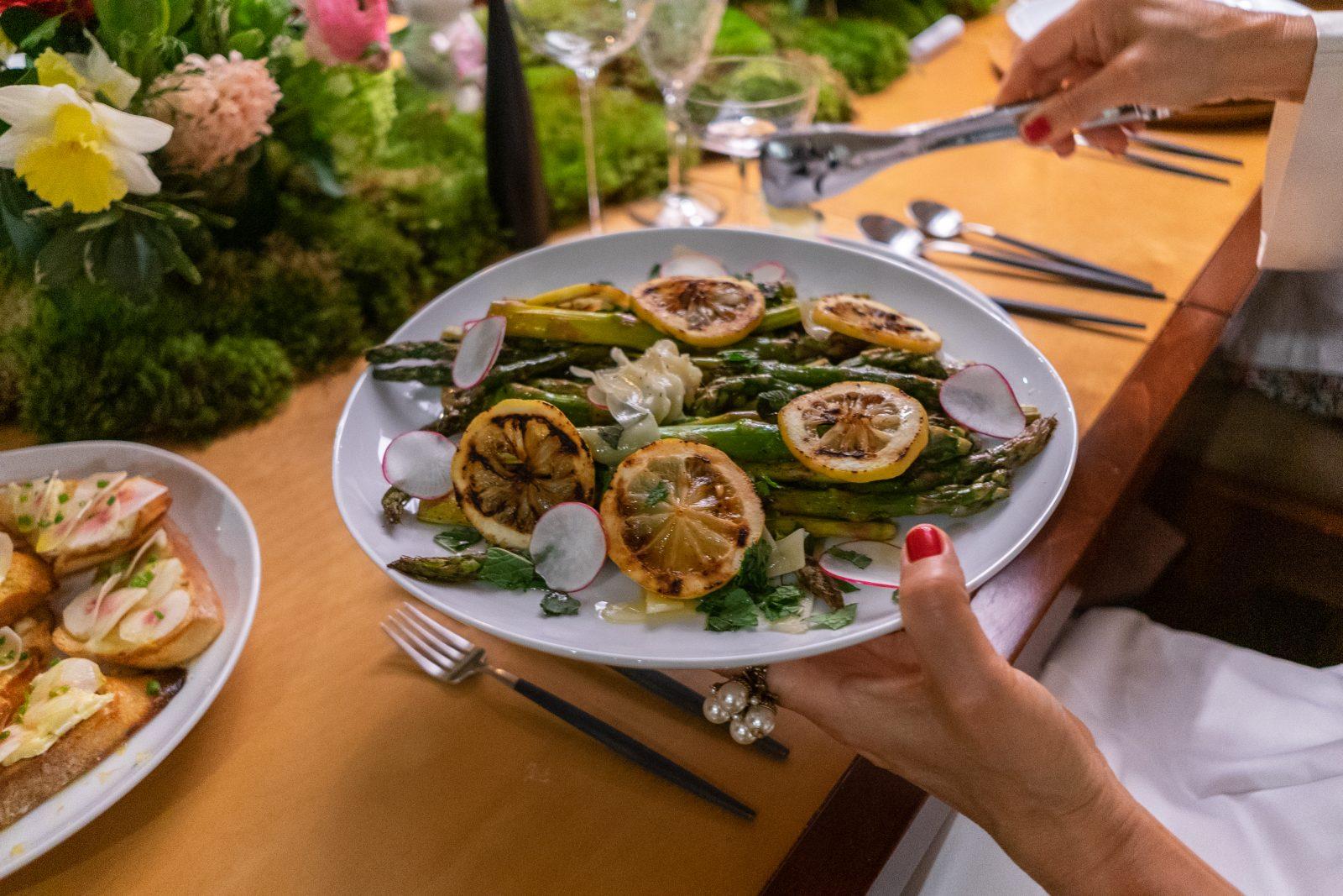 lemon, radishes and roasted asparagus