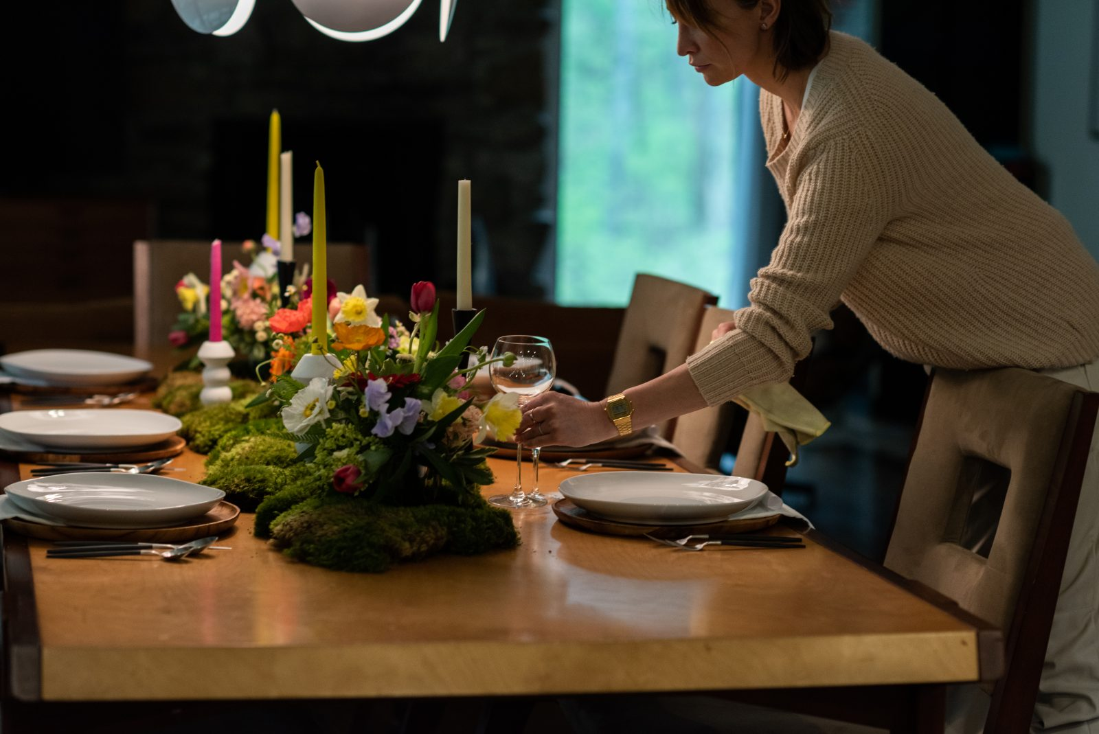 Setting the dinner table for a dinner party