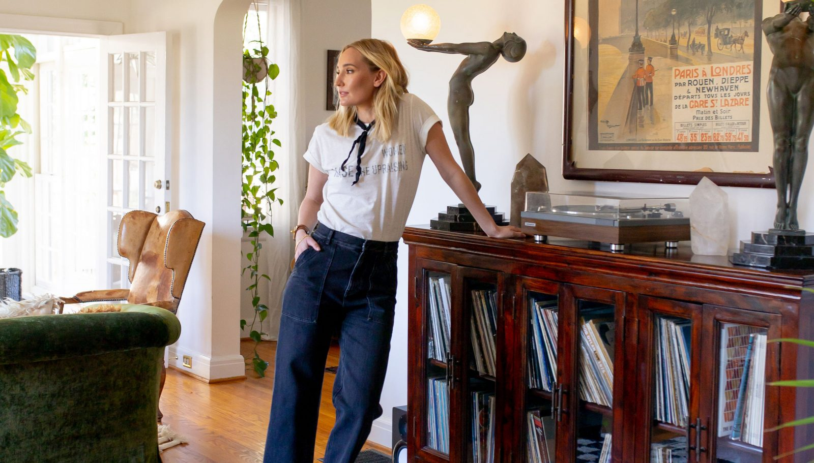 Ruby Stewart showing her personal style at home