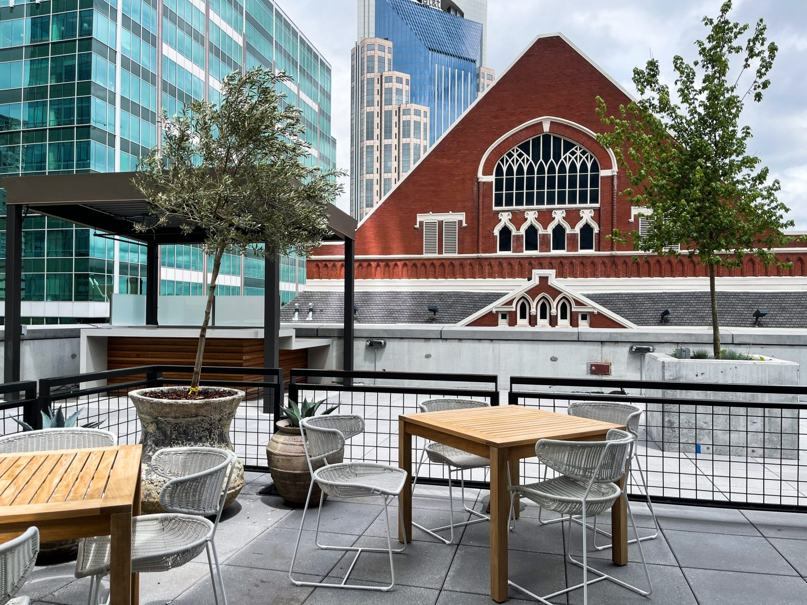 The Sixty Vines rooftop patio next to the Ryman Auditorium in downtown Nashville