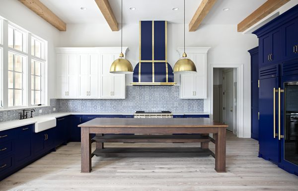 blue and white kitchen after remodel. Inspiration from Textures Nashville
