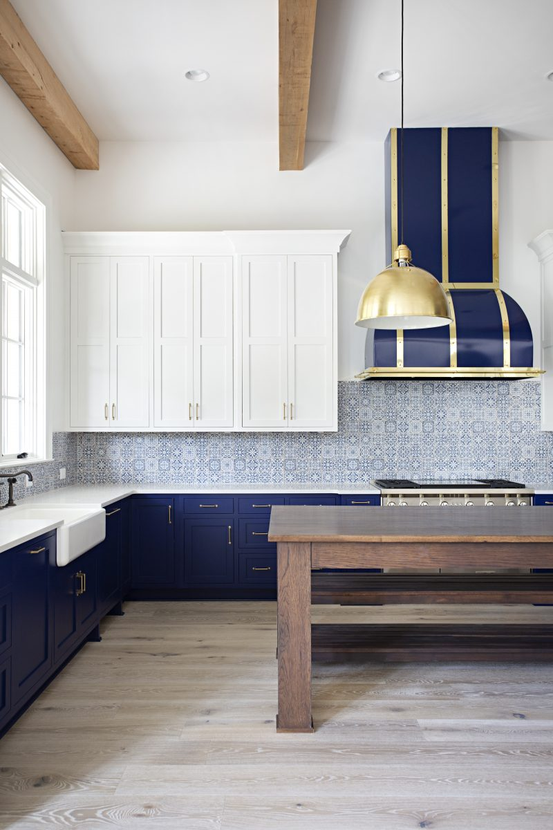 Left side of the blue and white themed west meade dr kitchen