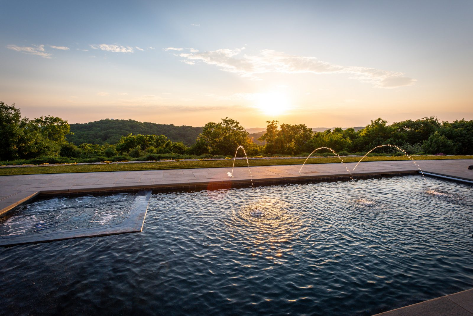 Pool at sunset in Franklin, TN overlooking the hills