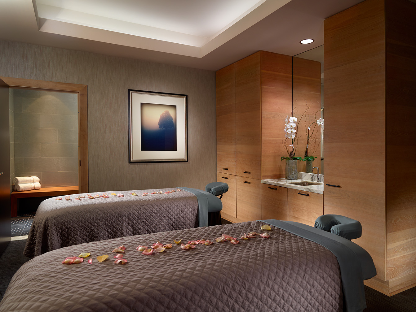 Couple's treatment room for massages at the Mokara spa in the Omni Hotel in Nashville, TN.