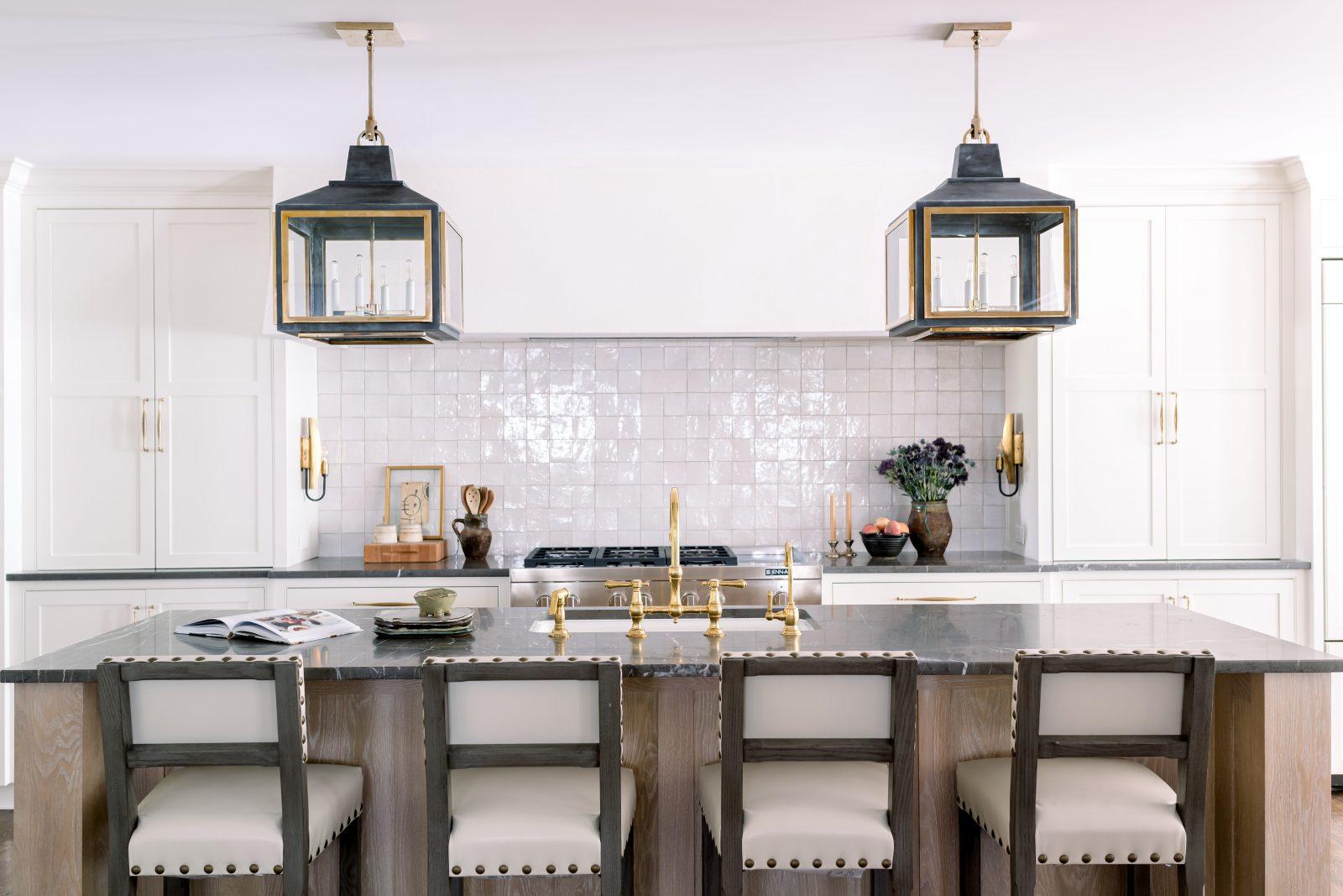Finished Parkes and Lamb kitchen interiors, white painted cabinets, white distressed tile backsplash.