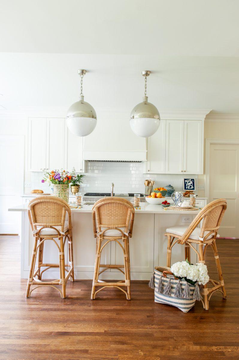 Meg White Interiors, white kitchen with brown wood floors