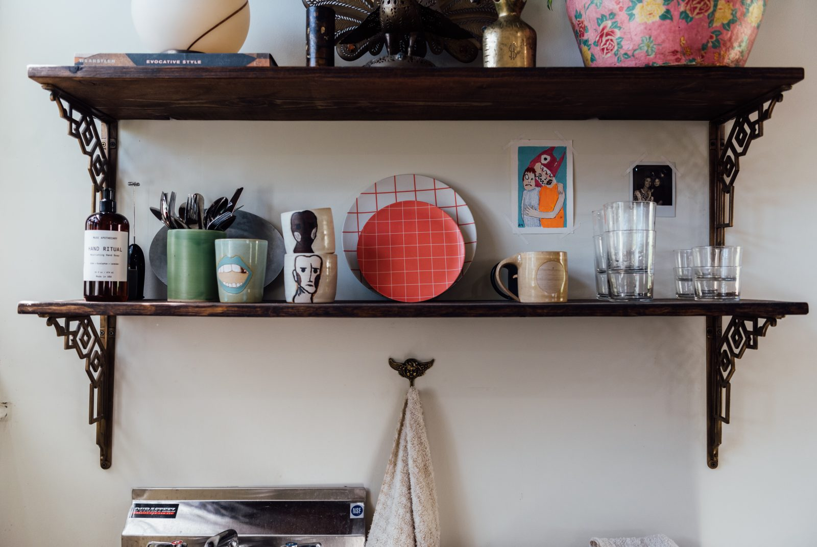 Shelves, cups, and plates at the Relic Home